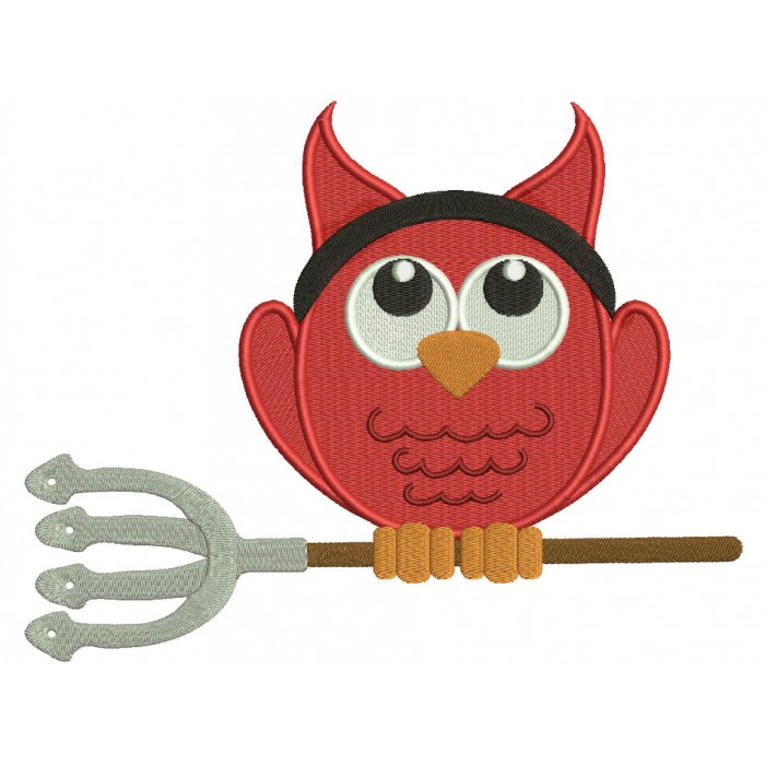 Little Devil Owl Halloween Filled Machine Embroidery Design Digitized Pattern