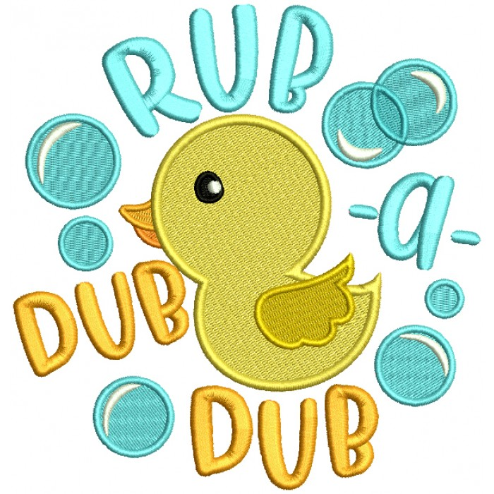 Little Ducky Ruba Dub Dub Filled Machine Embroidery Design Digitized Pattern
