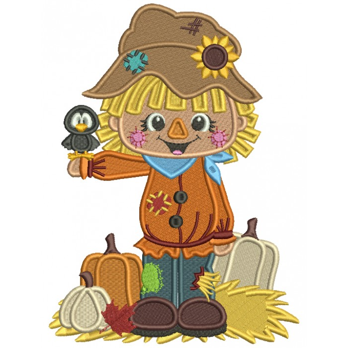 Little Farm Boy With Pumpkins Holding a Crow Thanksgiving Filled Machine Embroidery Design Digitized Pattern
