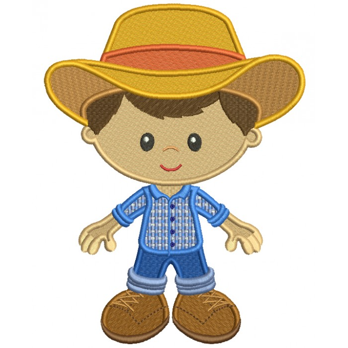 Little Farmer Boy Wearing Big Hat Filled Machine Embroidery Design Digitized Pattern