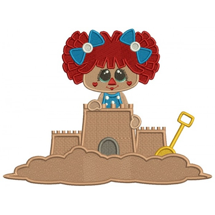 Little Girl Playing Building a Sand Castle Filled Machine Embroidery Design Digitized Pattern