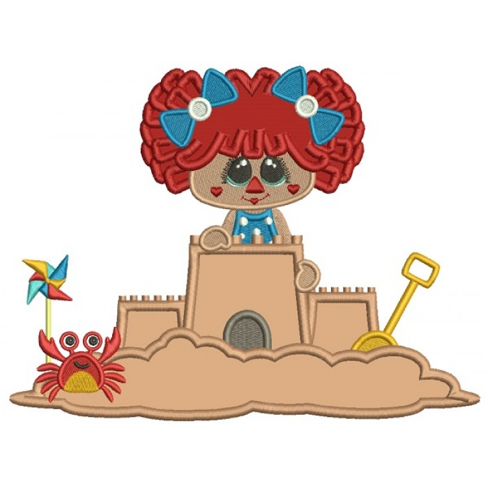 Little Girl Playing Building a Sand Castle With a Crab Applique Machine Embroidery Design Digitized Pattern