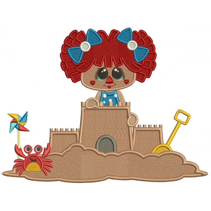 Little Girl Playing Building a Sand Castle With a Crab Filled Machine Embroidery Design Digitized Pattern