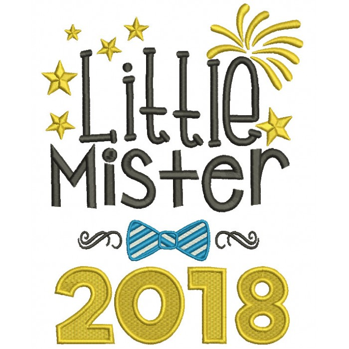 Little Mister 2018 New Year Filled Machine Embroidery Design Digitized Pattern