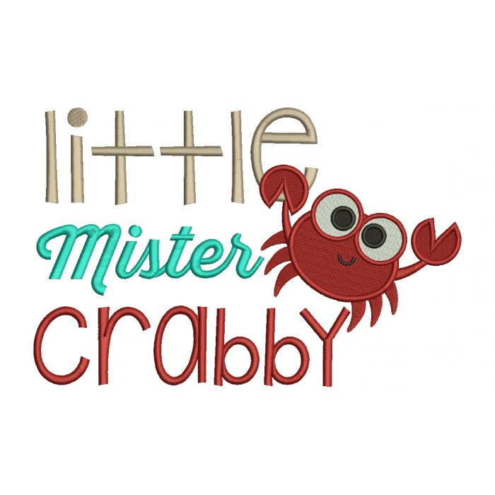 Little Mister Crabby Filled Machine Embroidery Design Digitized Pattern