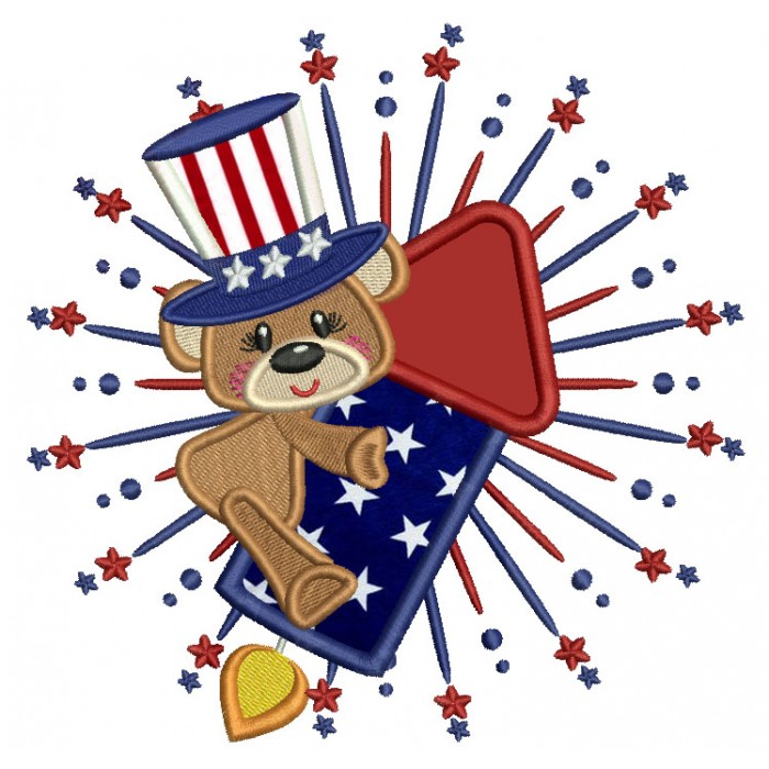 Little Patriotic Bear On a Big Rocket Applique Machine Embroidery Design Digitized Pattern