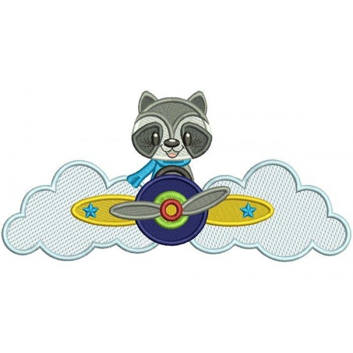 Little Racoon Pilot Filled Machine Embroidery Design Digitized Pattern