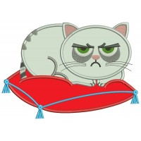 Looks Like Grumpy Cat Sitting On a Pillow Applique Machine Embroidery Design Digitized Pattern