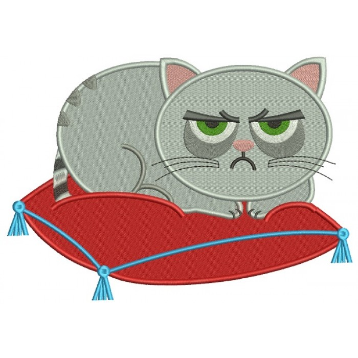 Looks Like Grumpy Cat Sitting On a Pillow Filled Machine Embroidery Design Digitized Pattern