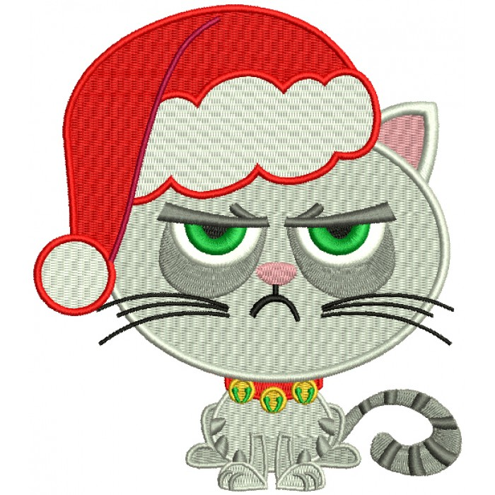 Looks Like Grumpy Cat Wearing a Santa Hat Christmas Filled Machine Embroidery Design Digitized Pattern