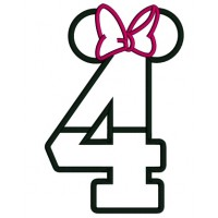 Looks Like Minnie Mouse Ears Fourth Birthday Applique Machine Embroidery Design Digitized Pattern