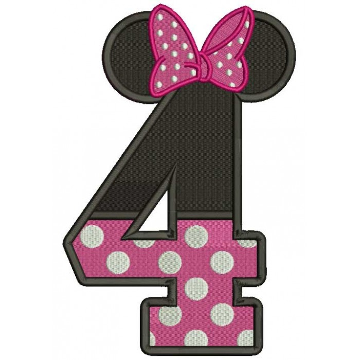 Looks Like Minnie Mouse Ears Fourth Birthday Filled Machine Embroidery Design Digitized Pattern