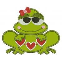 Love Frog Holding Hearts Applique Machine Embroidery Design Digitized Pattern