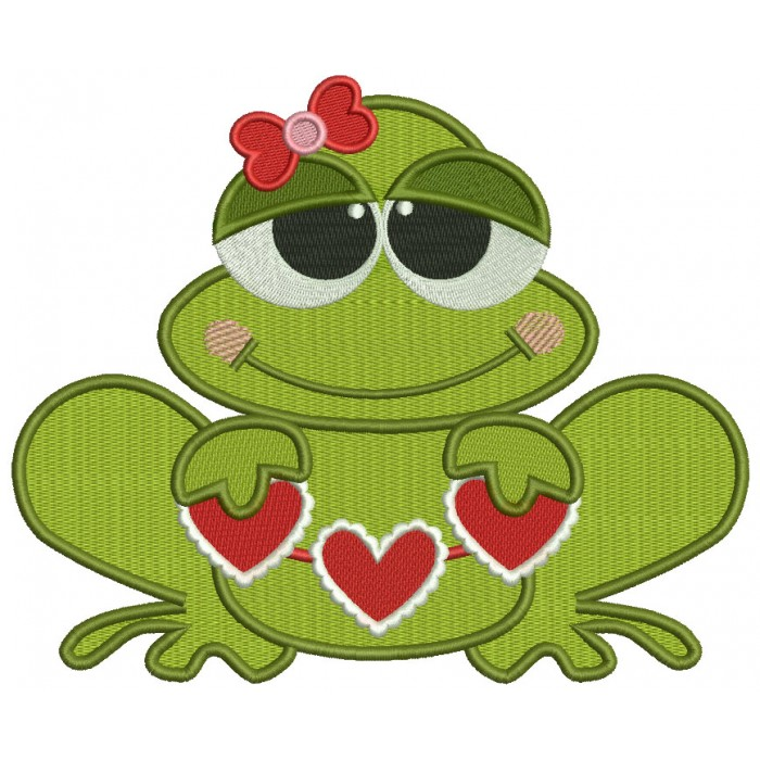Love Frog Holding Hearts Filled Machine Embroidery Design Digitized Pattern