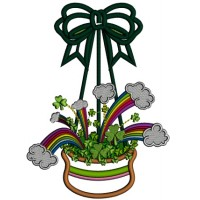 Lucky Bag St. Patrick's Day Applique Machine Embroidery Design Digitized Pattern