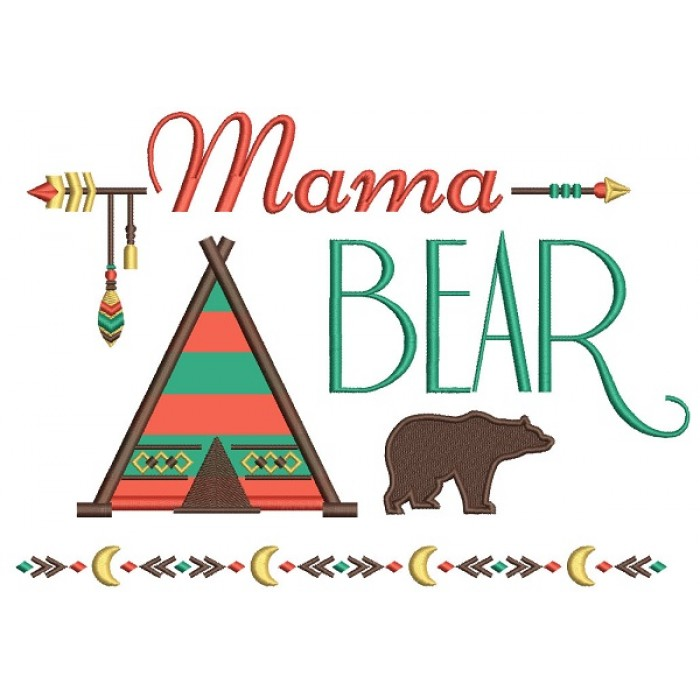 Mama Bear Tribal Applique Machine Embroidery Design Digitized Pattern