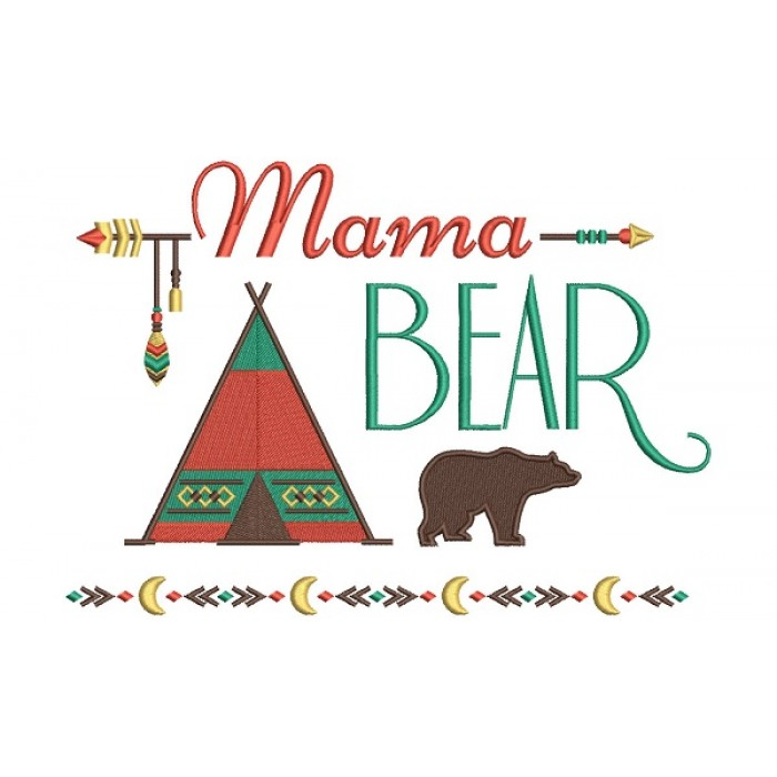 Mama Bear Tribal Filled Machine Embroidery Design Digitized Pattern