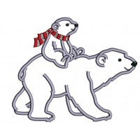 Mama Polar Bear With a Baby Bear Applique  Machine Embroidery Design Digitized Pattern