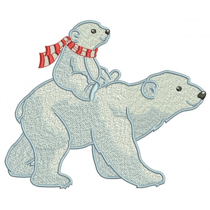 Mama Polar Bear With a Baby Bear Filled Machine Embroidery Design Digitized Pattern
