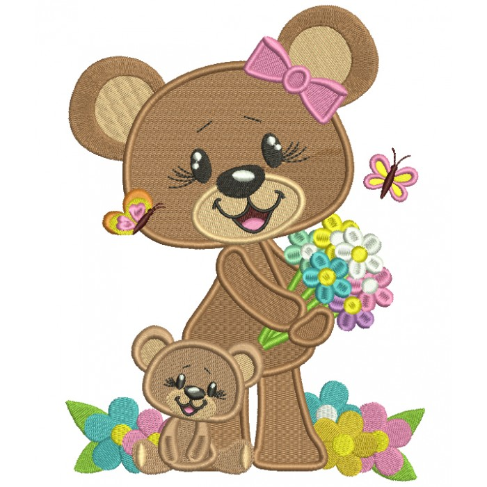 Mama and Baby Bear With Flowers Filled Machine Embroidery Design Digitized Pattern