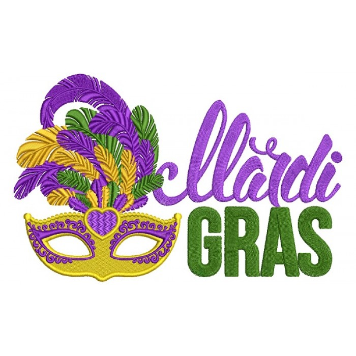 Mardi Grass Mask With Big Feathers Filled Machine Embroidery Design Digitized Pattern