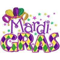 Mardi Gras Banner Jester Hat Applique Machine Embroidery Design Digitized Pattern
