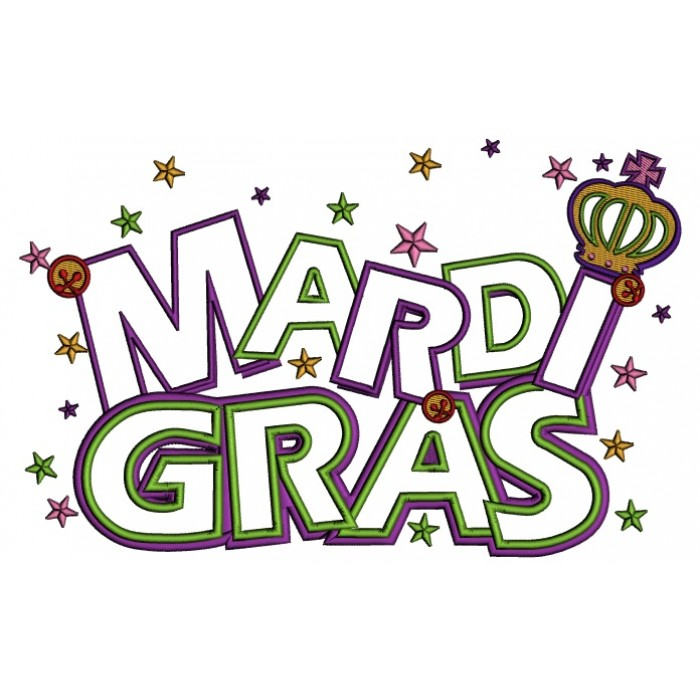 Gras Banner With Stars Applique Machine Embroidery Design Digitized
