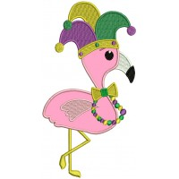 Mardi Gras Flamingo Applique Machine Embroidery Design Digitized Pattern