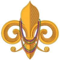 Mardi Gras Fleur-de-lis With Beads Applique Machine Embroidery Design Digitized Pattern