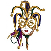 Mardi Grass Lady Mask Applique Machine Embroidery Design Digitized Pattern