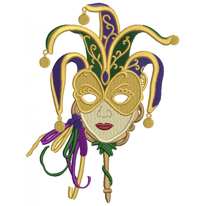 Mardi Grass Lady Mask Filled Machine Embroidery Design Digitized Pattern