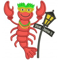 Mardi Grass Lobster Next To Street Light Applique Machine Embroidery Design Digitized Pattern