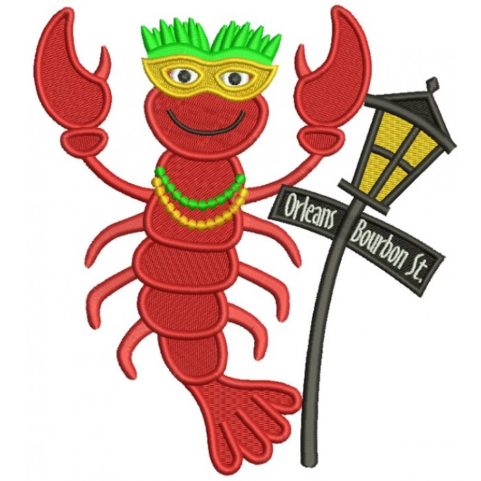 Mardi Grass Lobster Next To Street Light Filled Machine Embroidery Design Digitized Pattern