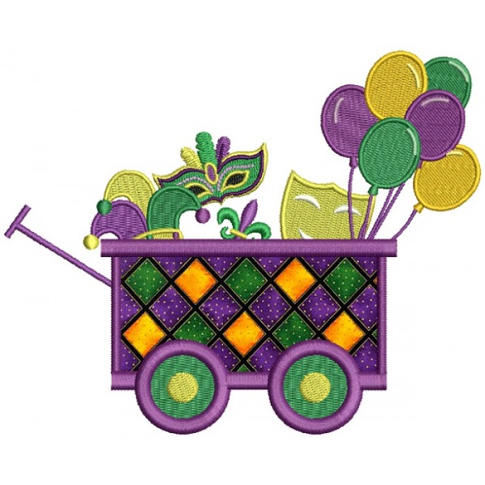 Mardi Grass Wagon With Masks and Balloons Applique Machine Embroidery Design Digitized Pattern