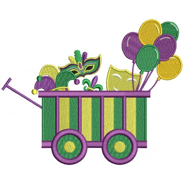 Mardi Grass Wagon With Masks and Balloons Filled Machine Embroidery Design Digitized Pattern