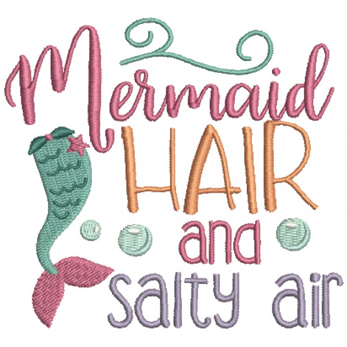 Mermaid Hair and Salty Air Marine Filled Machine Embroidery Design Digitized Pattern