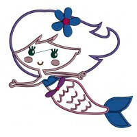 Mermaid With Cute Daisy Bow Applique Machine Embroidery Design Digitized Pattern