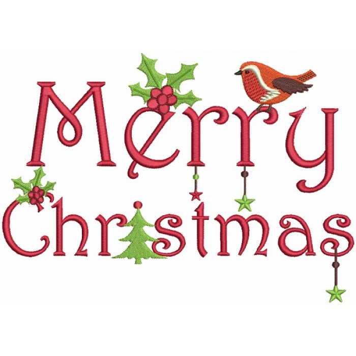 Merry Christmas Snow Bird Filled Machine Embroidery Design Digitized Pattern