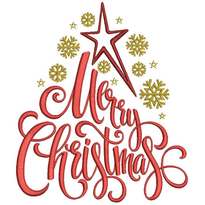 Merry Christmas Star And Snowflakes Filled Machine Embroidery Design Digitized Pattern
