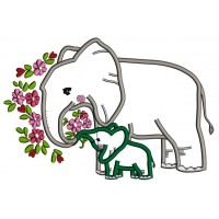 Mommy And Baby Elephant With Flowers Applique Machine Embroidery Design Digitized Pattern