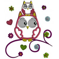 Mommy Owl And Baby Owl Sitting On The Branch Applique Machine Embroidery Design Digitized Pattern