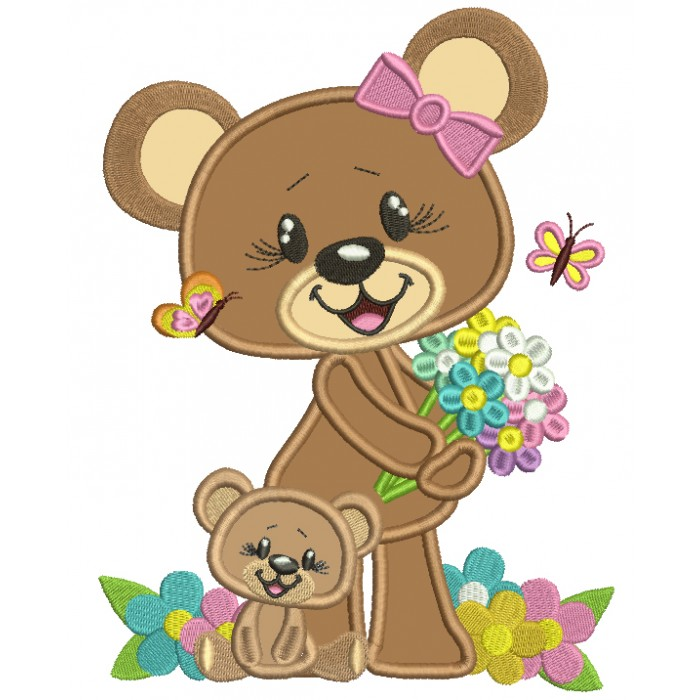Mommy and Baby Bear With Flowers Applique Machine Embroidery Design Digitized Pattern