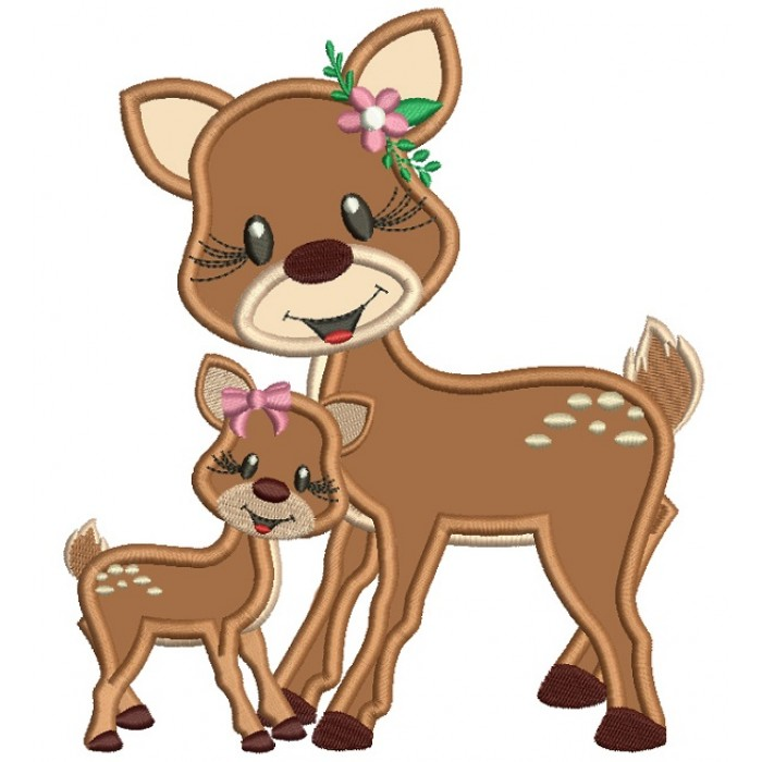Mommy and Cute Baby Deer Applique Machine Embroidery Design Digitized Pattern
