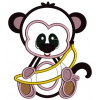 Monkey With a Banana Applique Machine Embroidery Design Digitized Pattern