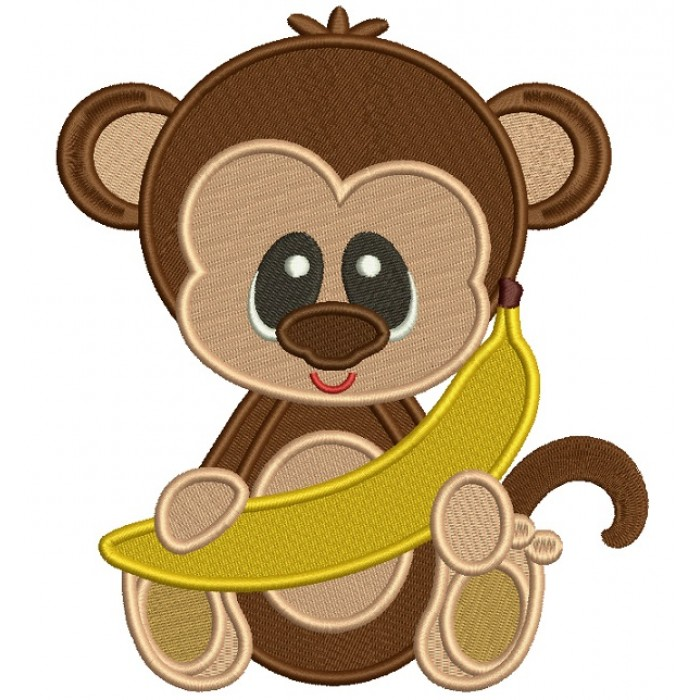 Monkey With a Banana Filled Machine Embroidery Design Digitized Pattern
