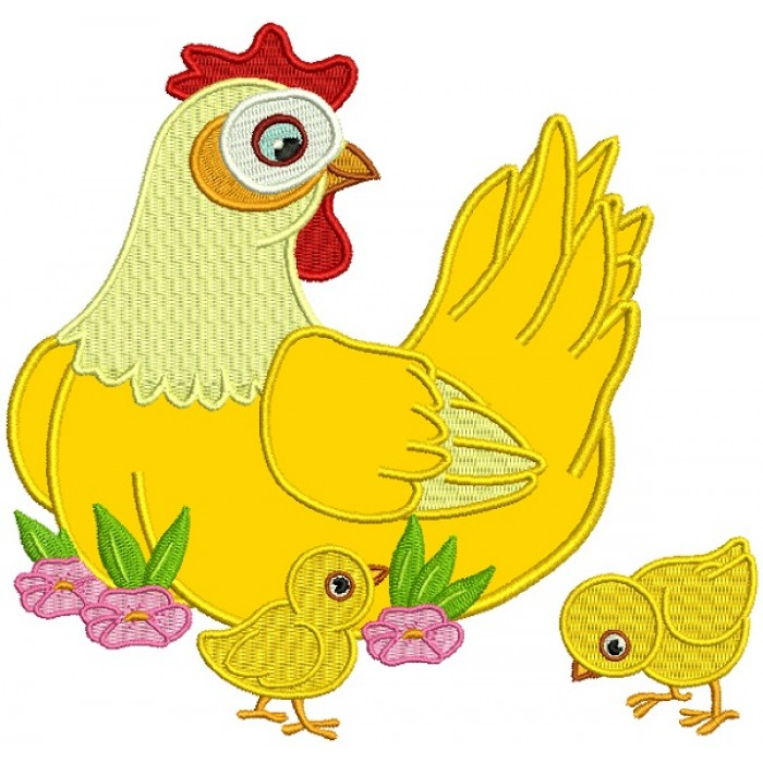 Mother Hen With Baby Chicks Applique Machine Embroidery Design Digitized Pattern