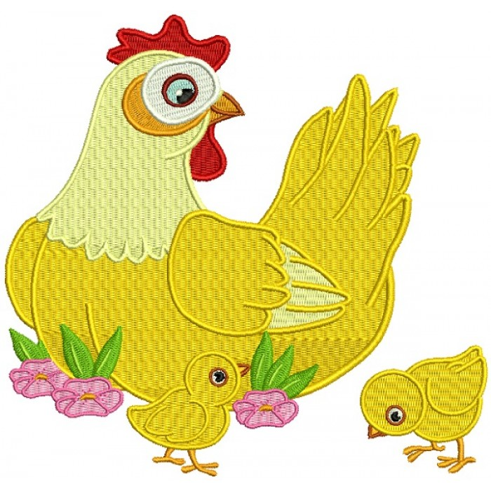 Mother Hen With Baby Chicks Filled Machine Embroidery Design Digitized Pattern
