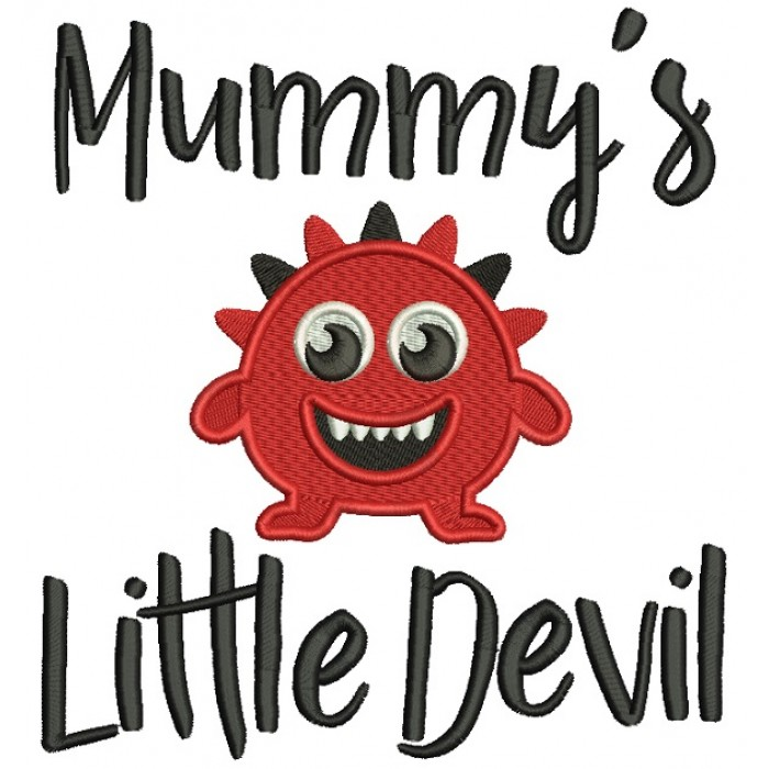Mummy's Little Devil Filled Machine Embroidery Design Digitized Pattern