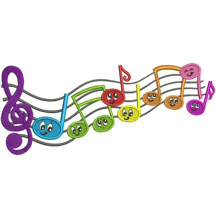 Music Notes Filled Machine Embroidery Design Digitized Pattern