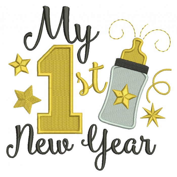My First New Year Baby Bottle Filled Machine Embroidery Design Digitized Pattern